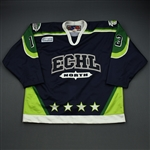 Henkel, Jim *<br>Navy - worn in the 2nd period - Autographed<br>ECHL All Star 2002-03<br>#13 Size: 56