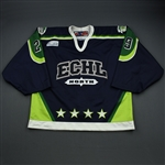 Stirling, Scott *<br>Navy - worn in the 1st period - Autographed<br>ECHL All Star 2002-03<br>#29