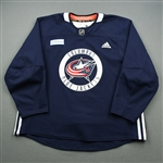 adidas<br>Navy Practice Jersey w/ OhioHealth Patch <br>Columbus Blue Jackets 2018-19<br> Size: 58