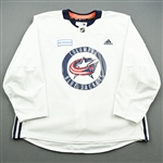 adidas<br>White Practice Jersey w/ OhioHealth Patch <br>Columbus Blue Jackets 2018-19<br> Size: 58