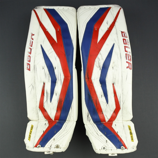 Lundqvist, Henrik *<br>Bauer Supreme Leg Pads - Stanley Cup Playoffs - Photo-Matched<br>New York Rangers 2012-13<br>