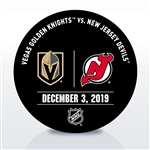 New Jersey Devils Warmup Puck<br>December 3, 2019 vs. Vegas Golden Knights<br>New Jersey Devils 2019-20<br>