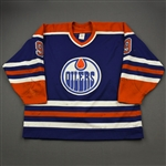 "Anderson, Glenn *<br>Blue w/Captains ""C"" Removed<br>Edmonton Oilers 1990-91<br>#9 Size: 54"