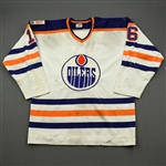 Murdoch, Don *<br>White  - Photo-Matched to Don Murdoch, but with Schmautz NOB<br>Edmonton Oilers 1979-80<br>#16 Size: XL