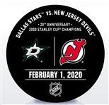 New Jersey Devils Warmup Puck<br>February 1, 2020 vs. Dallas Stars<br>New Jersey Devils 2019-20<br>20th Anniversary - 2000 Stanley Cup Champions