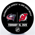 New Jersey Devils Warmup Puck<br>February 16, 2020 vs. Columbus Blue Jackets<br>New Jersey Devils 2019-20<br>
