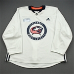 adidas<br>White Practice Jersey w/ OhioHealth Patch <br>Columbus Blue Jackets 2019-20<br> Size: 56
