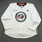 adidas<br>White Practice Jersey w/ OhioHealth Patch <br>Columbus Blue Jackets 2019-20<br> Size: 58