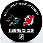 New Jersey Devils Warmup Puck<br>February 20, 2020 vs. San Jose Sharks<br>New Jersey Devils 2019-20<br>