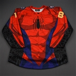 Ebbing, Thomas<br>MARVEL Spider-Man w/Socks - Worn February 22, 2020 vs. Brampton Beast<br>Reading Royals 2019-20<br>#18 Size: 56