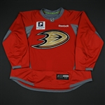 Booth, David *<br>Practice - Red w/Pacific Premier Bank Patch - CLEARANCE<br>Anaheim Ducks 2016-17<br>#22 Size: 58