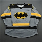 Johnston, Garrett<br>DC Batman w/Socks (Game-Issued) - December 6, 2019 vs. Worcester Railers <br>Newfoundland Growlers 2019-20<br>#3 Size: 56