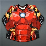 Phillips, Michael<br>MARVEL Iron Man - Worn November 17, 2018 @ South Carolina Stingrays (Autographed)<br>Wheeling Nailers 2018-19<br>#23 Size: 54
