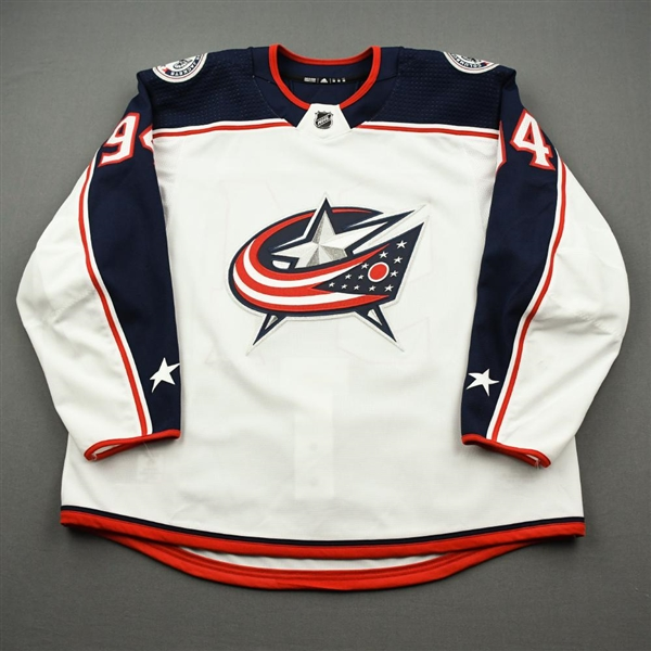 Bergeron, Justin<br>White Set 1 - Game-Issued (GI)<br>Columbus Blue Jackets 2019-20<br>#94 Size: 58