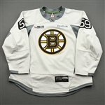 Berglund, Victor<br>White Practice Jersey w/ ORG Packaging Patch - CLEARANCE<br>Boston Bruins 2017-18<br>#59 Size: 56