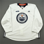 adidas <br>White Practice Jersey w/ Ford Patch<br>Edmonton Oilers 2019-20<br> Size: 60