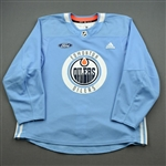 adidas <br>Light Blue Practice Jersey w/ Ford Patch<br>Edmonton Oilers 2019-20<br> Size: 56