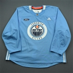 adidas <br>Light Blue Practice Jersey w/ Ford Patch<br>Edmonton Oilers 2019-20<br> Size: 58