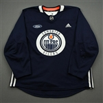 adidas <br>Navy Practice Jersey w/ Ford Patch<br>Edmonton Oilers 2019-20<br> Size: 56