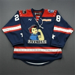 Leary, Kate<br>Navy Lake Placid Set w/ Isobel Cup & End Racism Patch<br>Metropolitan Riveters 2020-21<br>#28 Size:  MD